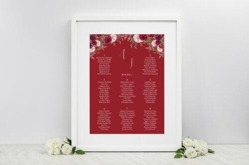 Plan stołów weselnych - do zaproszenia Akwarelowe Bukiety – Burgundowe róże na ciemnym tle