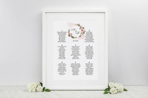 Plan stołów weselnych do zaproszeń Geometryczne ze zdjęciem - Różowe Różyczki