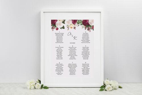 Plan stołów weselnych do zaproszeń Eleganckie kwiaty - Bordowe róże