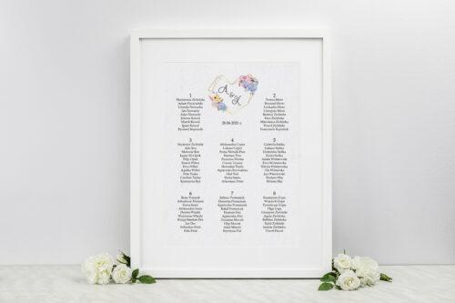 Plan stołów weselnych do zaproszenia ze zdjęciem i sznurkiem – Rustykalny bukiet w sercu