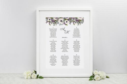 Plan stołów weselnych - Kwiatowe Gałązki - Biało-Fioletowe Anemony