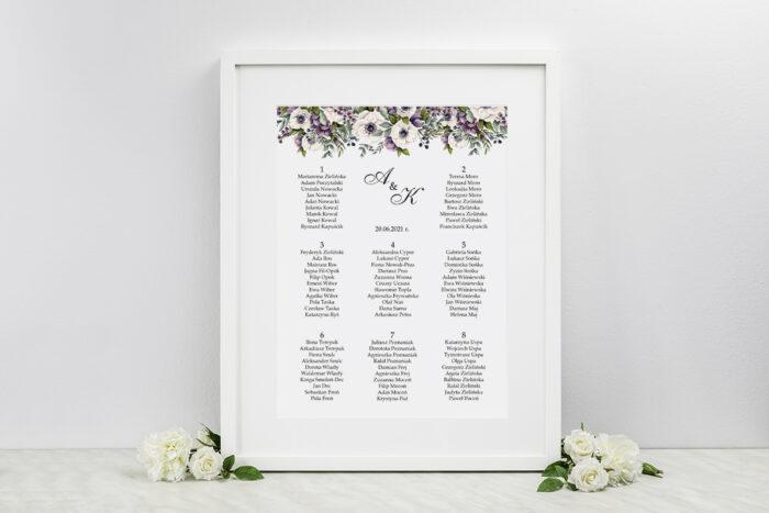 plan-stolow-weselnych-kwiatowe-galazki-bialo-fioletowe-anemony-dodatki-ramka-papier-ecruefakturowany