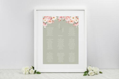 Plan stołów weselnych - do zaproszenia Akwarelowe Bukiety – Ogrodowe róże na ciemnym tle