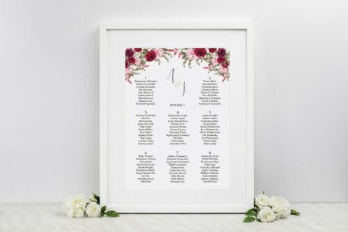 Plan stołów weselnych - do zaproszenia Akwarelowe Bukiety – Burgundowe róże na jasnym tle