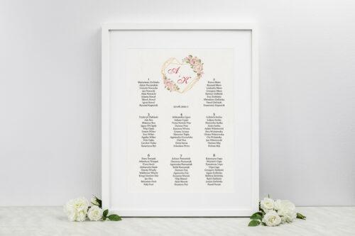 Plan stołów weselnych do zaproszenia Angielskie Róże – Pudrowe