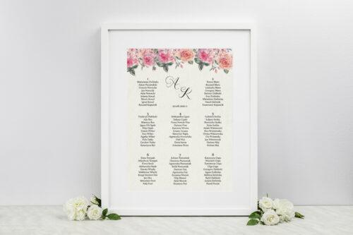 Plan stołów weselnych do zaproszenia Angielskie Róże – Różowe i Herbaciane