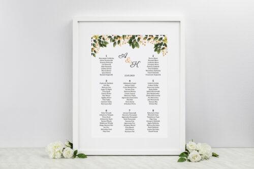 Plan stołów weselnych do zaproszeń Botaniczne Jednokartkowe - Jesienna kompozycja