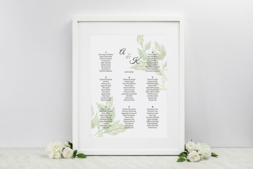 Plan stołów weselnych do zaproszeń Botaniczne Jednokartkowe - Zielone liście
