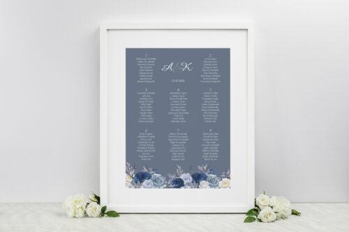 Plan stołów weselnych do zaproszeń Duże Inicjały - Niebieskie Róże