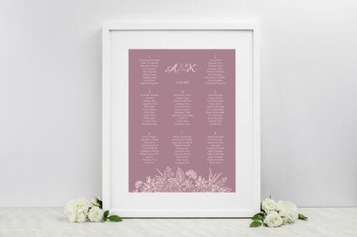 Plan stołów weselnych do zaproszeń Duże Inicjały - Konturowe Kwiaty