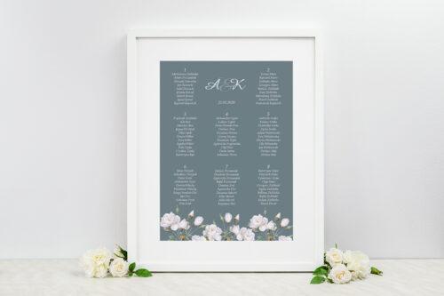 Plan stołów weselnych do zaproszeń Duże Inicjały - Białe Róże