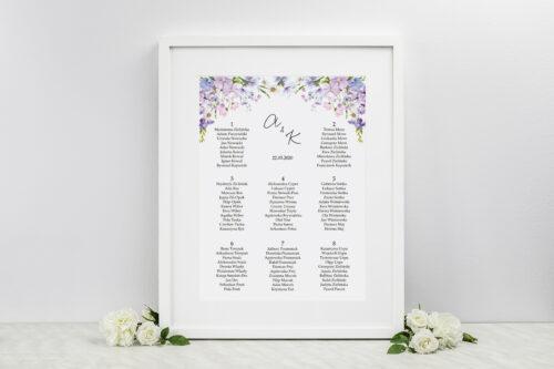 Plan stołów weselnych do zaproszeń Eleganckie kwiaty - Polny wianek