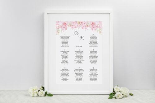 Plan stołów weselnych do zaproszeń Eleganckie kwiaty - Kwiaty wiśni