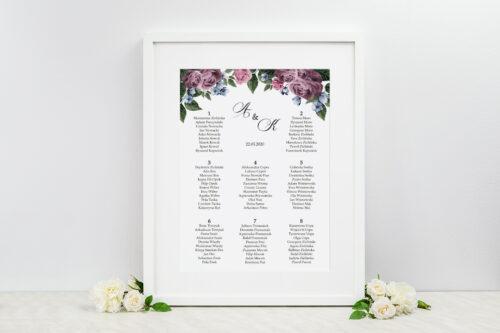 Plan stołów weselnych do zaproszenia Botaniczne – Fioletowe róże