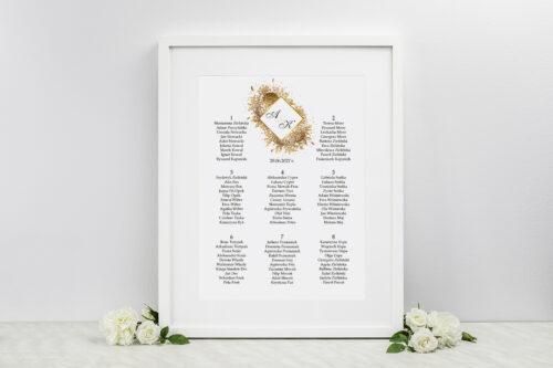 Plan stołów weselnych do zaproszeń Geometryczne Kwiaty - Złoty bukiet
