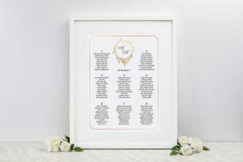 Plan stołów weselnych do zaproszeń Geometryczne ze zdjęciem - Biała Kompozycja