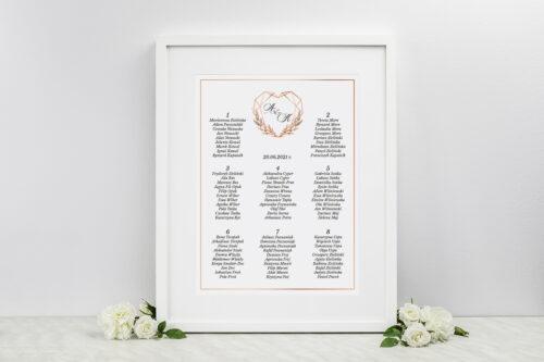 Plan stołów weselnych do zaproszeń Geometryczne ze zdjęciem - Serce