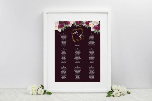 Plan stołów weselnych do zaproszeń Kontrastowe z kwiatami - Kolorowe róże