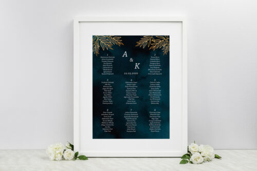 Plan stołów weselnych do zaproszeń Kontrastowe z kwiatami - Pastelowy bukiet