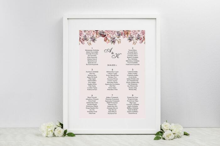 plan-stolow-weselnych-kwiatowe-galazki-rozowo-bordowe-roze-dodatki-ramka-papier-ecruefakturowany