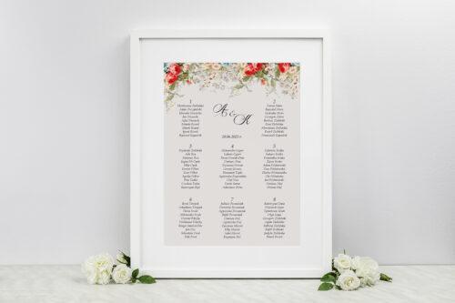 Plan stołów weselnych - Kwiatowe Gałązki - Białe Kalie