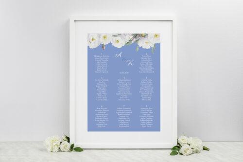 Plan stołów weselnych do zaproszeń Kwiatowe Nawy - Białe róże