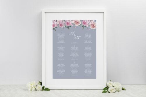 Plan stołów weselnych do zaproszeń Kwiatowe Nawy - Różowe różyczki