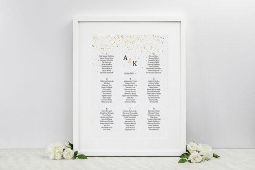 plan stołów weselnych - minimalistyczne złote kropeczki
