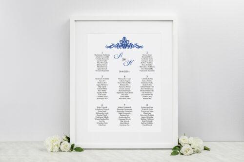 Plan stołów weselnych - Eleganckie ślubne 3D - Niebieskie
