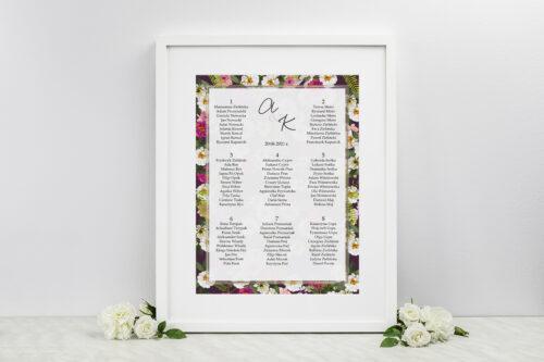 Plan stołów weselnych - do zaproszenia Tło z kwiatów – Kolorowe astry