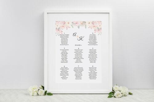 Plan stołów weselnych do zaproszeń Z parą młodą - Pocałunek