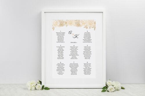 Plan stołów weselnych do zaproszeń Z parą młodą - Wtuleni