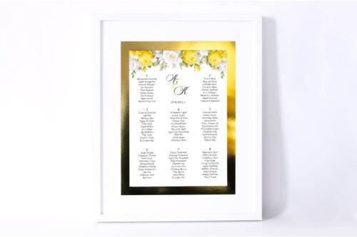 Plan stołów weselnych Kwiaty&Złoto - Żółte róże