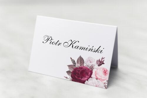 Winietka ślubna do zaproszenia Geometryczne Kwiaty - Amarantowy bukiet