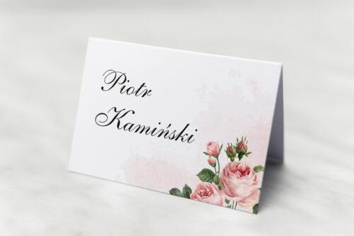 Winietka ślubna do zaproszenia Geometryczne ze zdjęciem - Różowe Różyczki