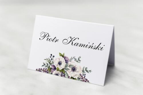 Winietka ślubna - Kwiatowe Gałązki - Biało-Fioletowe Anemony