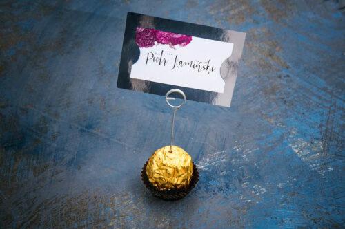 Winietka ślubna do zaproszenia Kwiaty&Srebro - Fuksjowe piwonie