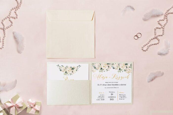 zaproszenie ślubne kwadratowe we wzorze białych róż