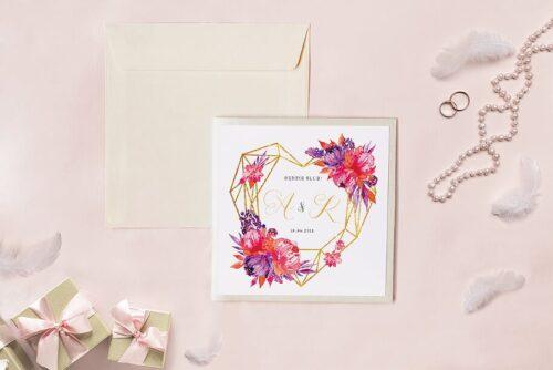 Zaproszenie ślubne - Kwadratowy zestaw - Geometryczne serce z czerwonymi piwoniami
