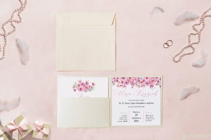 zaproszenie ślubne kwadratowe we wzorze kwiatu wiśni