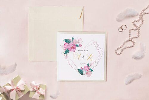 Zaproszenie ślubne - Kwadratowy zestaw - Geometryczne serce z różową magnolią