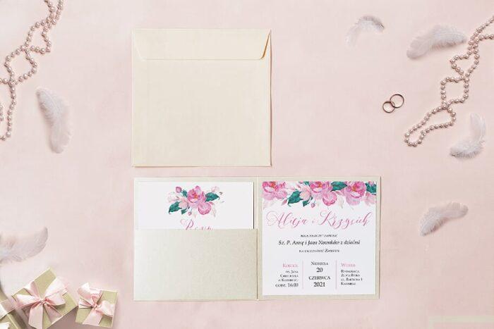 zaproszenie ślubne kwadratowe we wzorze różowej magnolii