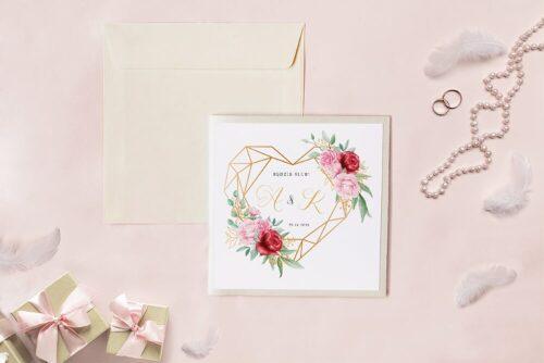 Zaproszenie ślubne - Kwadratowy zestaw - Geometryczne serce z różami