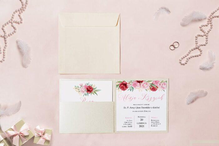 zaproszenie ślubne kwadratowe we wzorze róż
