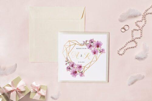 Zaproszenie ślubne - Kwadratowy zestaw - Geometryczne serce ze storczykami