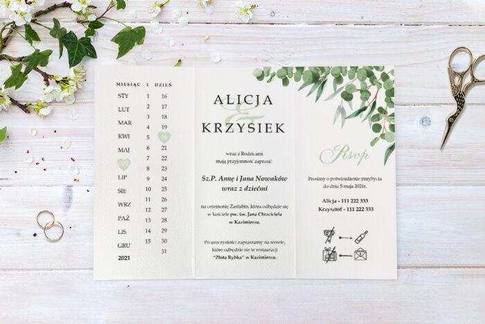 zaproszenie ślubne pionowe ze sznurkiem z kwiatami