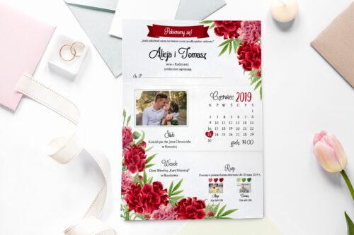 zaproszenie ślubne ze zdjęciem we wzorze czerwonych goździków