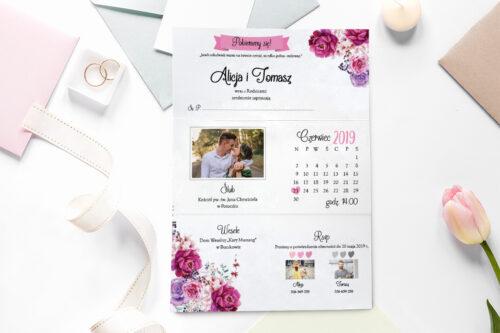 zaproszenie ślubne ze zdjęciem we wzorze fuksjowych kwiatów