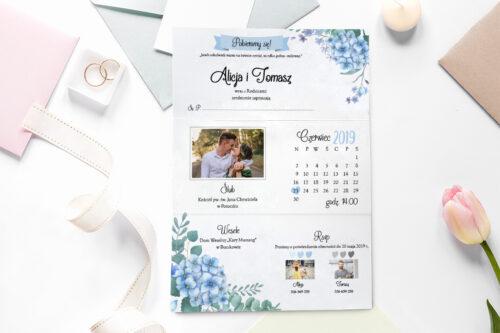 zaproszenie ślubne ze zdjęciem we wzorze niebieskich hortensji
