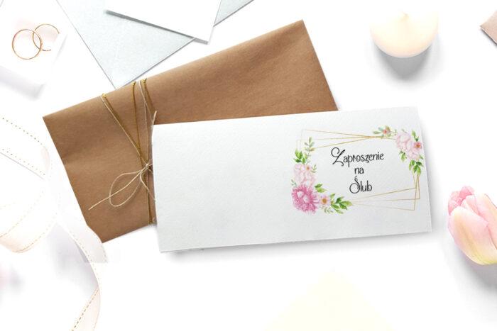 zaproszenie ślubne ze zdjęciem we wzorze pastelowych kwiatów